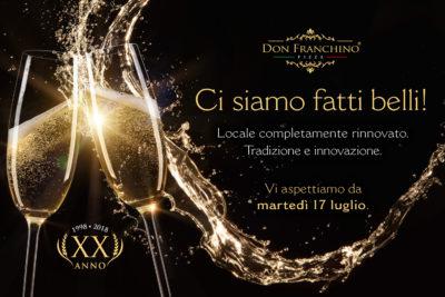 Riapertura Don Franchino rinnovo locale ventesimo anno